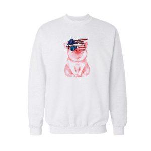 Patriotic Pig Sweatshirt For Unisex