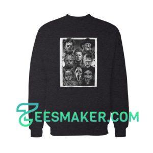 All Horror Movie Character Halloween Sweatshirt Adult Size S - 3XL