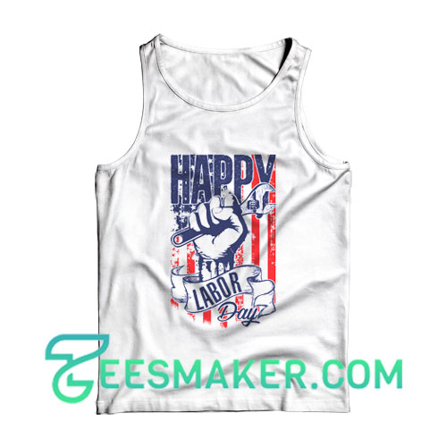 Happy Labor Day Tank Top USA Flag Size S - 2XL