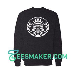 Skeleton Coffee Lover Sweatshirt Halloween Day Size S - 3XL