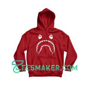 Bape-Shark-Hoodie-Maroon