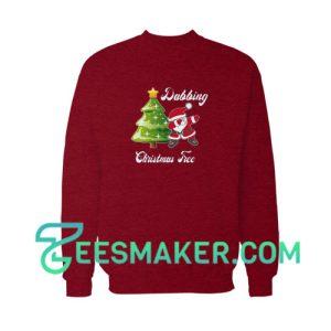 Dabbing--Christmas-Tree-Sweatshirt-Maroon