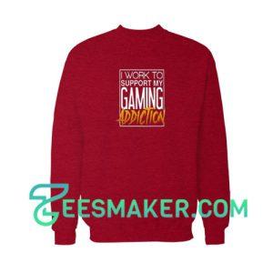 Game-Addiction-Sweatshirt-Red-Maroon